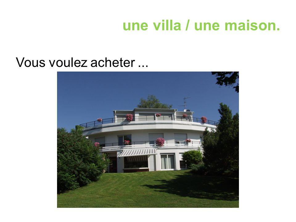 une villa / une maison. Vous voulez acheter...