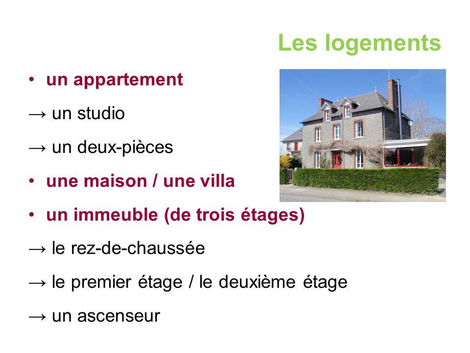 Les logements un appartement → un studio → un deux-pièces une maison / une villa un immeuble (de trois étages) → le rez-de-chaussée → le premier étage / le deuxième étage → un ascenseur