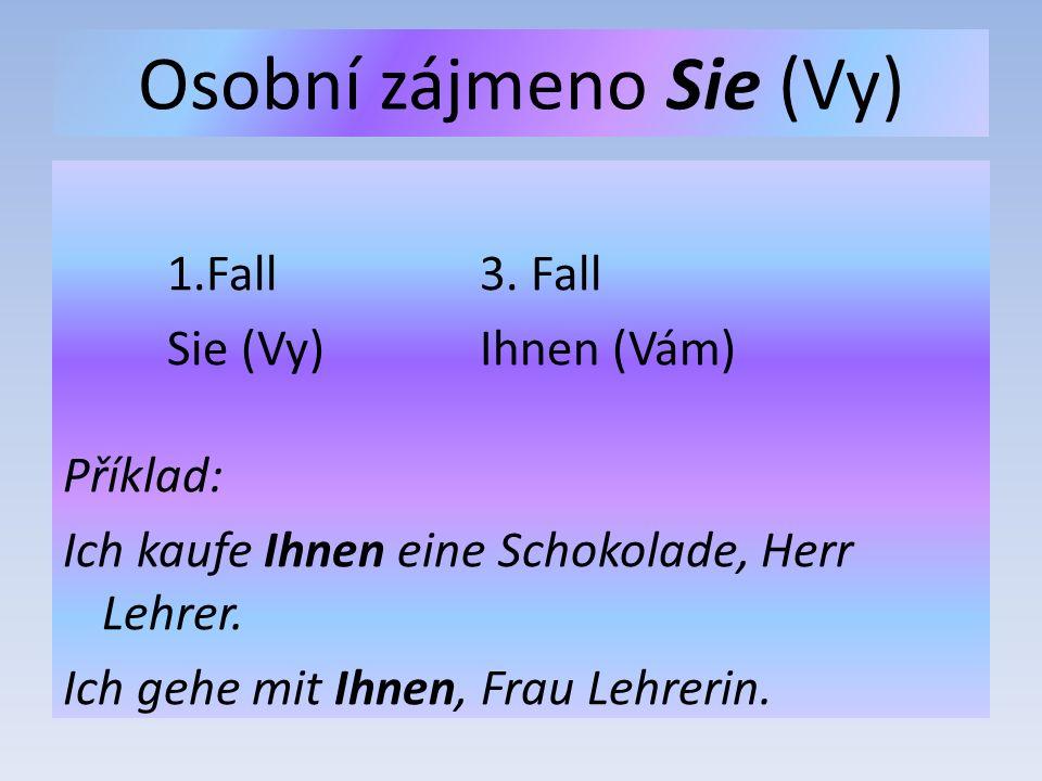 Osobní zájmeno Sie (Vy) 1.Fall3.