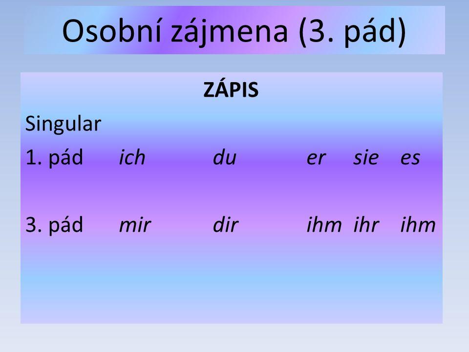Osobní zájmena (3. pád) ZÁPIS Singular 1. pádichduersiees 3. pádmirdirihmihrihm