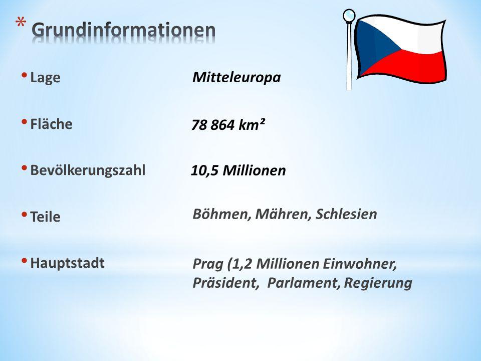 Lage Fläche Bevölkerungszahl Teile Hauptstadt Prag (1,2 Millionen Einwohner, Präsident, Parlament, Regierung Mitteleuropa 78 864 km² 10,5 Millionen Bö