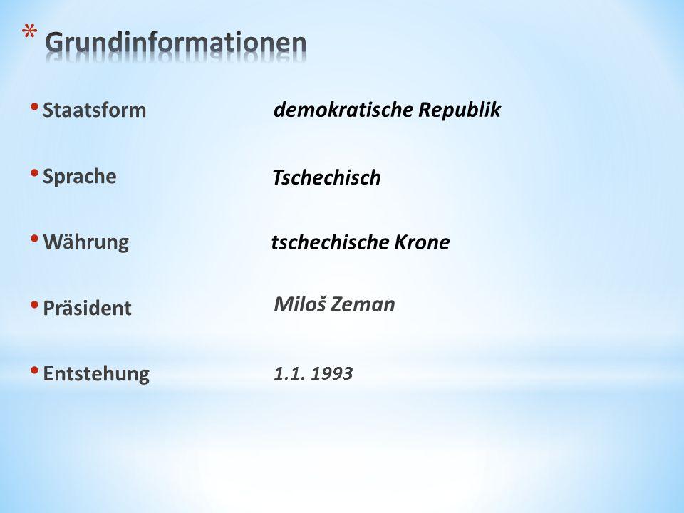 Staatsform Sprache Währung Präsident Entstehung 1.1. 1993 demokratische Republik Tschechisch tschechische Krone Miloš Zeman