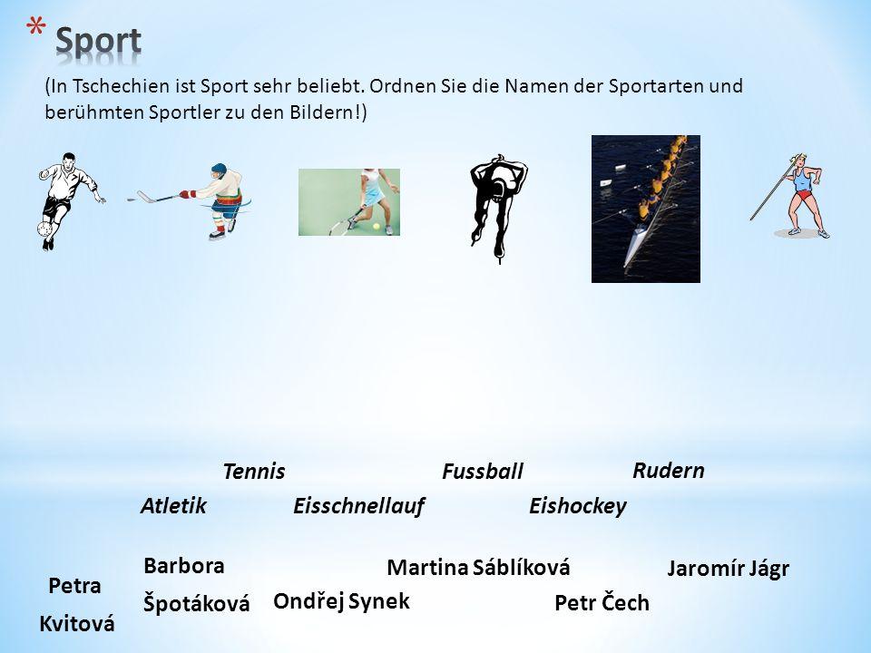 (In Tschechien ist Sport sehr beliebt. Ordnen Sie die Namen der Sportarten und berühmten Sportler zu den Bildern!) Petra Kvitová Jaromír Jágr Ondřej S