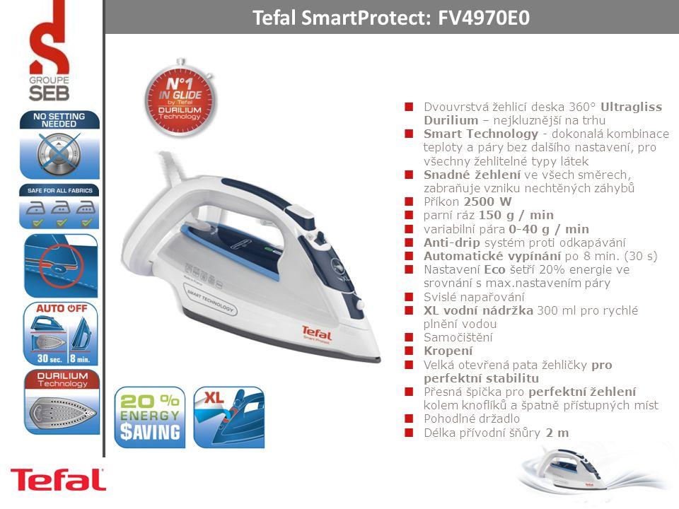 Tefal SmartProtect: FV4970E0 Dvouvrstvá žehlicí deska 360° Ultragliss Durilium – nejkluznější na trhu Smart Technology - dokonalá kombinace teploty a páry bez dalšího nastavení, pro všechny žehlitelné typy látek Snadné žehlení ve všech směrech, zabraňuje vzniku nechtěných záhybů Příkon 2500 W parní ráz 150 g / min variabilní pára 0-40 g / min Anti-drip systém proti odkapávání Automatické vypínání po 8 min.
