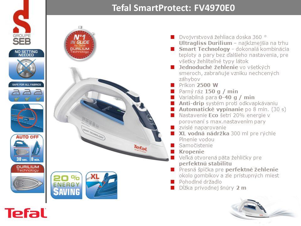 Tefal SmartProtect: FV4970E0 Dvojvrstvová žehliaca doska 360 ° Ultragliss Durilium – najklznejšia na trhu Smart Technology - dokonalá kombinácia teploty a pary bez ďalšieho nastavenia, pre všetky žehliteľné typy látok Jednoduché žehlenie vo všetkých smeroch, zabraňuje vzniku nechcených záhybov Príkon 2500 W Parný ráz 150 g / min Variabilná para 0-40 g / min Anti-drip systém proti odkvapkávaniu Automatické vypínanie po 8 min.
