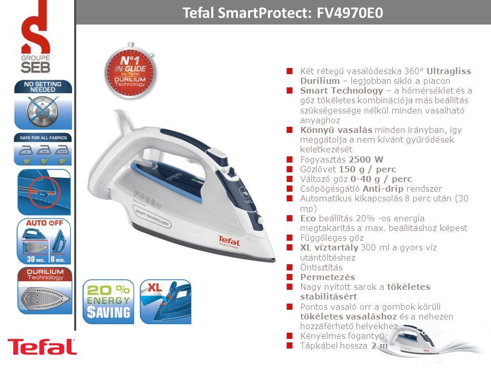 Tefal SmartProtect: FV4970E0 Két rétegű vasalódeszka 360° Ultragliss Durilium – legjobban sikló a piacon Smart Technology – a hőmérséklet és a gőz tök