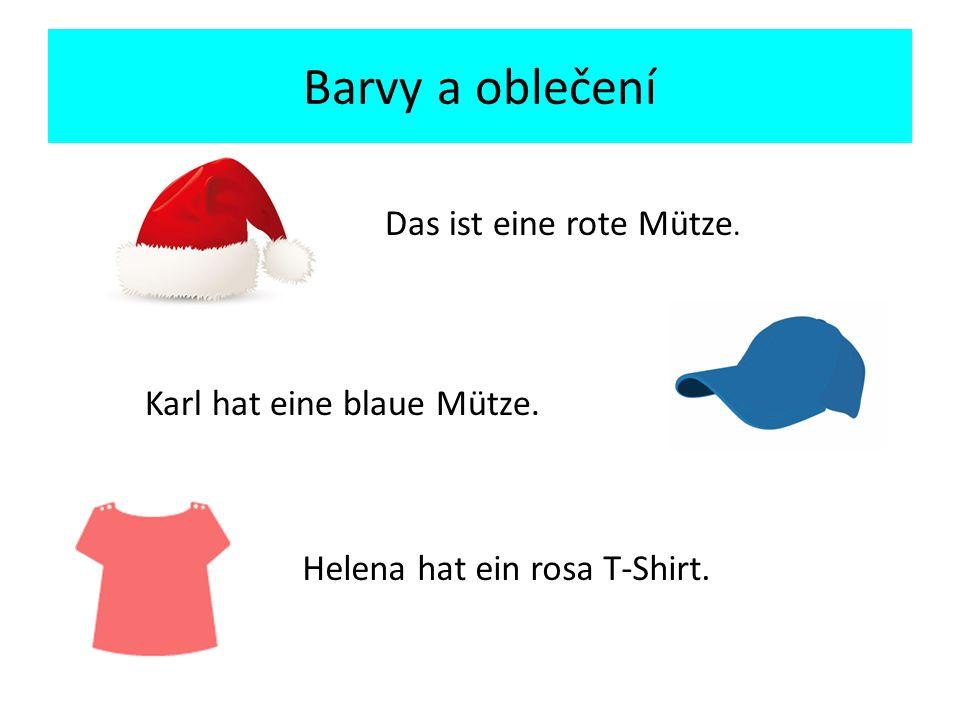Das ist eine rote Mütze. Karl hat eine blaue Mütze. Helena hat ein rosa T-Shirt.