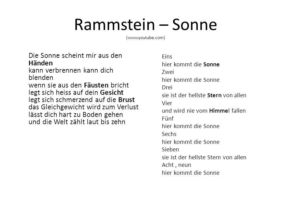 Rammstein – Sonne 1. Napište český význam sloves warten scheinen zählen kommen untergehen