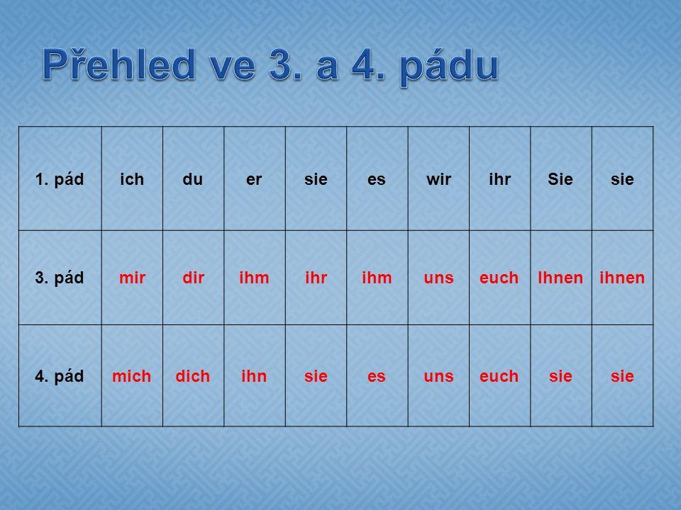 1. pádichduersieeswirihrSiesie 3. pádmirdirihmihrihmunseuchIhnenihnen 4.