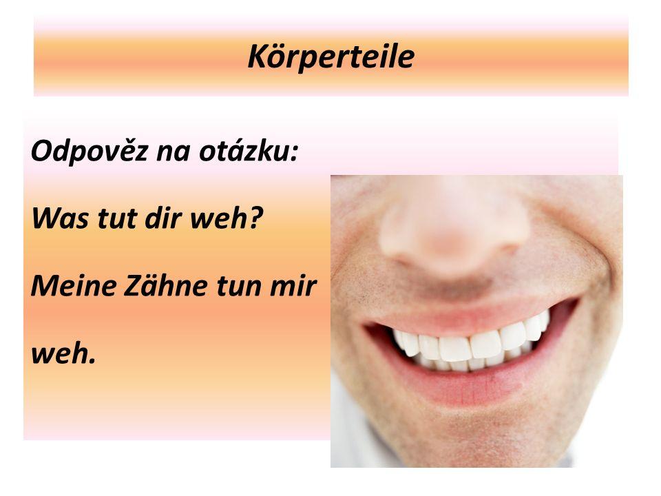 Körperteile Odpověz na otázku: Was tut dir weh Meine Zähne tun mir weh.