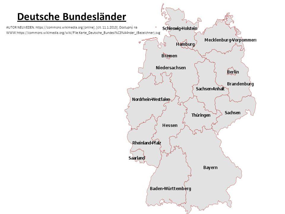 Deutsche Bundesländer AUTOR NEUVEDEN. https://commons.wikimedia.org [online].