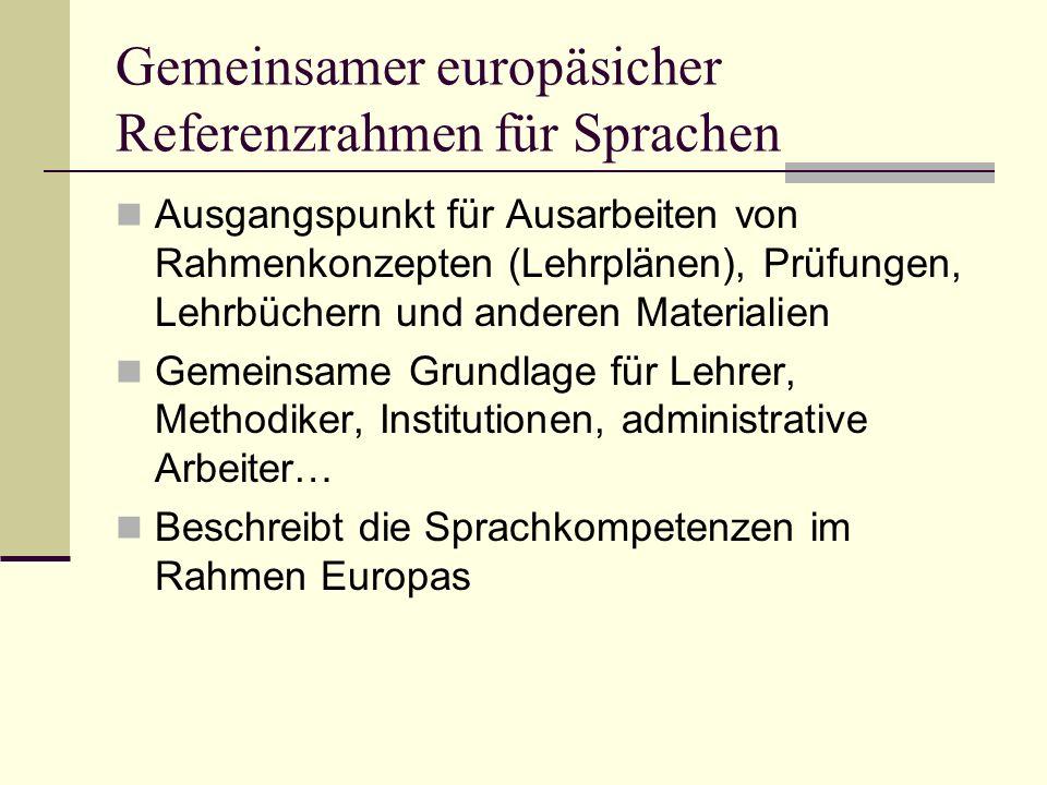 Gemeinsamer europäsicher Referenzrahmen für Sprachen Ausgangspunkt für Ausarbeiten von Rahmenkonzepten (Lehrplänen), Prüfungen, Lehrbüchern und andere