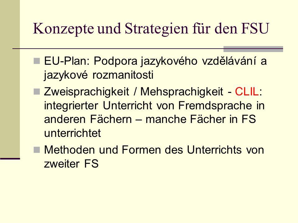 Konzepte und Strategien für den FSU EU-Plan: Podpora jazykového vzdělávání a jazykové rozmanitosti Zweisprachigkeit / Mehsprachigkeit - CLIL: integrie