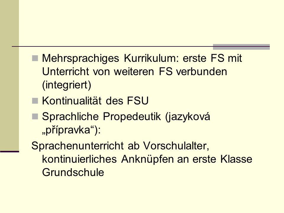 """Mehrsprachiges Kurrikulum: erste FS mit Unterricht von weiteren FS verbunden (integriert) Kontinualität des FSU Sprachliche Propedeutik (jazyková """"pří"""