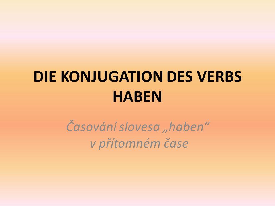 """DIE KONJUGATION DES VERBS HABEN Časování slovesa """"haben v přítomném čase"""