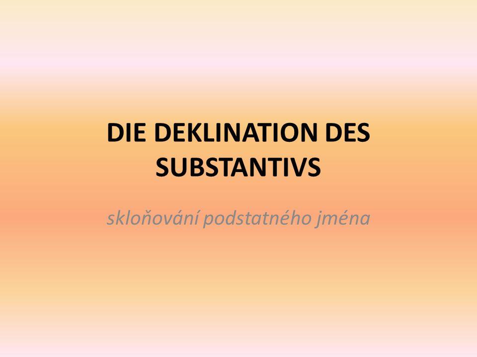 DIE DEKLINATION DES SUBSTANTIVS skloňování podstatného jména