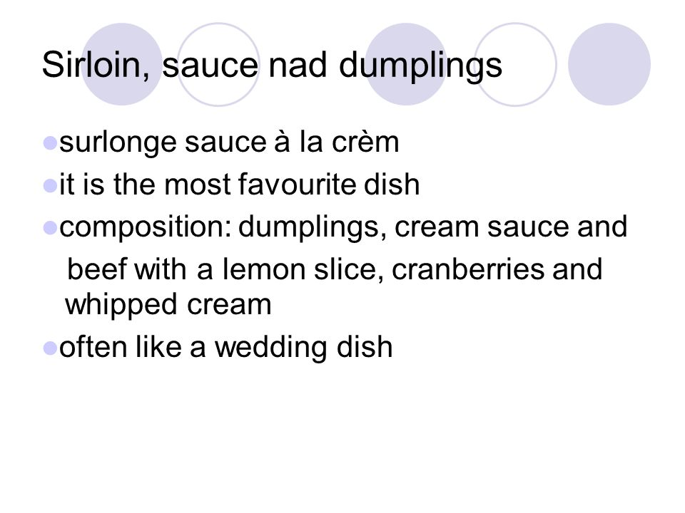 Sirloin, sauce nad dumplings surlonge sauce à la crèm it is the most favourite dish composition: dumplings, cream sauce and beef with a lemon slice, cranberries and whipped cream often like a wedding dish