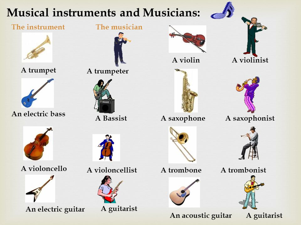 Musical instruments and Musicians: The instrumentThe musician An electric bass A Bassist A violoncello A violoncellist An electric guitar A guitarist A saxophoneA saxophonist A tromboneA trombonist An acoustic guitarA guitarist A trumpet A trumpeter A violinA violinist