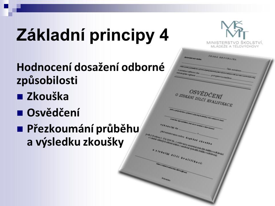 Základní principy 4 Hodnocení dosažení odborné způsobilosti Zkouška Osvědčení Přezkoumání průběhu a výsledku zkoušky