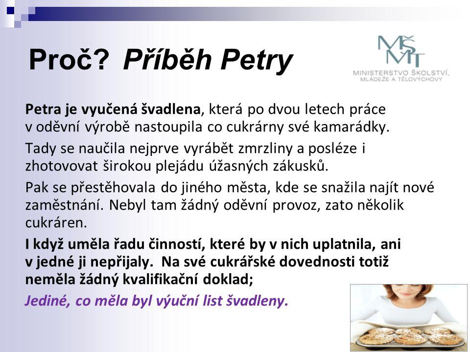 Proč?Příběh Petry Petra je vyučená švadlena, která po dvou letech práce v oděvní výrobě nastoupila co cukrárny své kamarádky. Tady se naučila nejprve