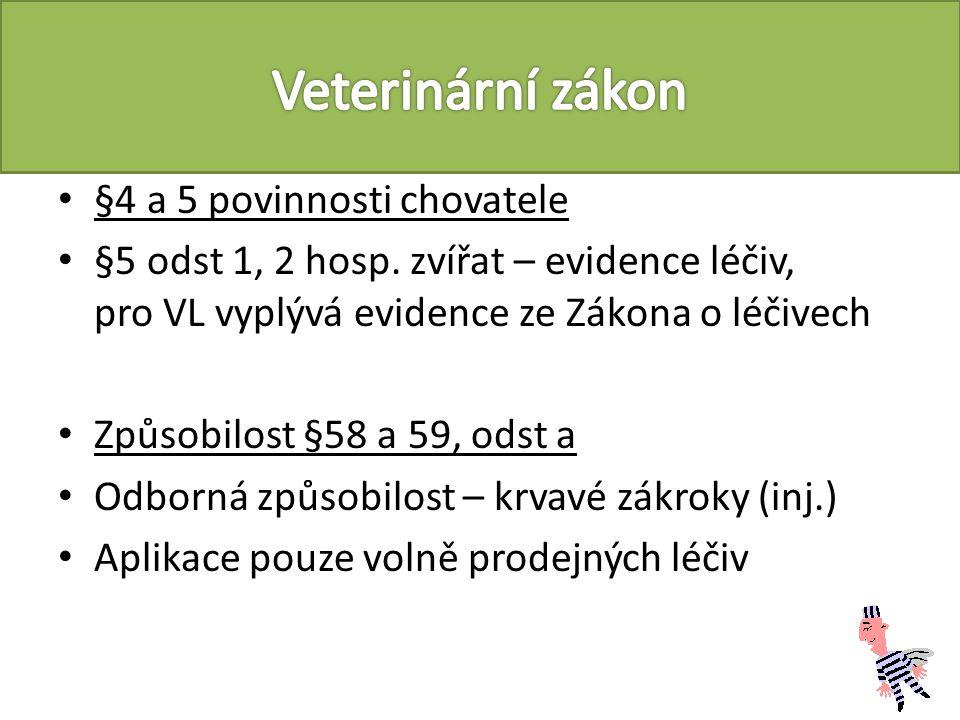 Prováděcí vyhláška 208/2004 (464/2009, Smernice Rady 2008/120/ES) Minimální standardy pro ochranu prasat (§3 ) Odst 9 – manipulativní materiál (taxonomicky vyjmenovaný: seno, sláma, dřevo, piliny, kompost, rašelina nebo směsi těchto materiálů) Odst 11 – Trvalý přístup k napájecí vodě (mokré krmení) Odst 12 – rutinní krácení ocasu a broušení špičáků ne Odst 15d- etologické aktivity prasnic Odst 16c – odstav v 28 dnech (výjimky) Odst 18 – odkladný účinek pro rozměry kotců apod.