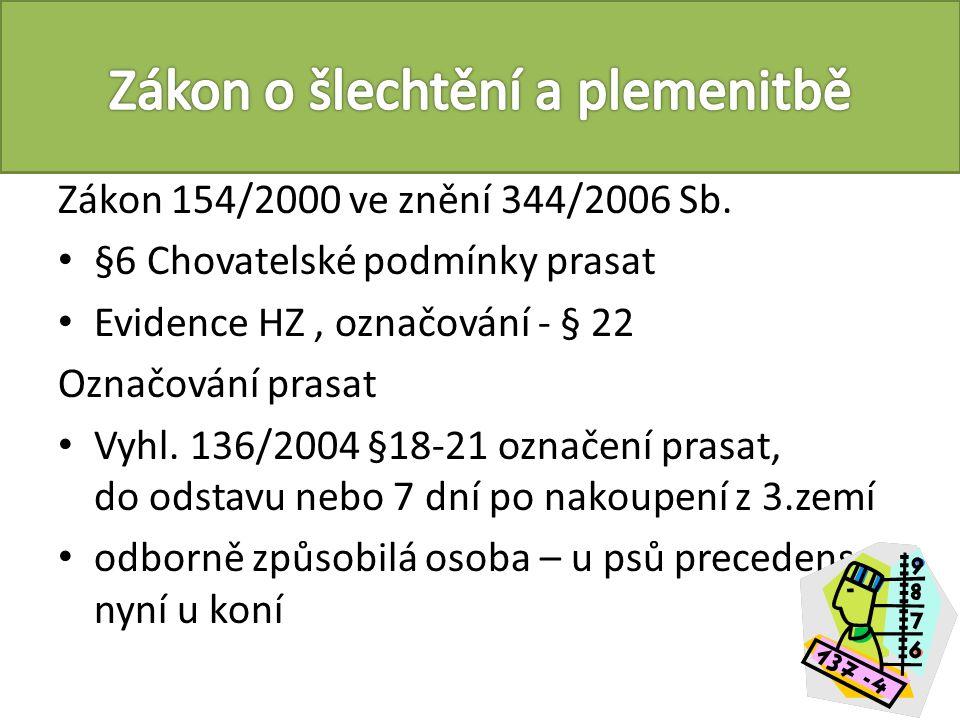 Zákon č.246/1992 Sb.+ vyhláška č. 4/2009 + nařízení Rady (ES) č.