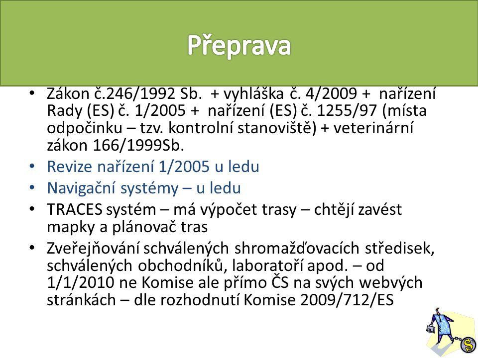 Zákon č.246/1992 Sb. + vyhláška č. 4/2009 + nařízení Rady (ES) č.