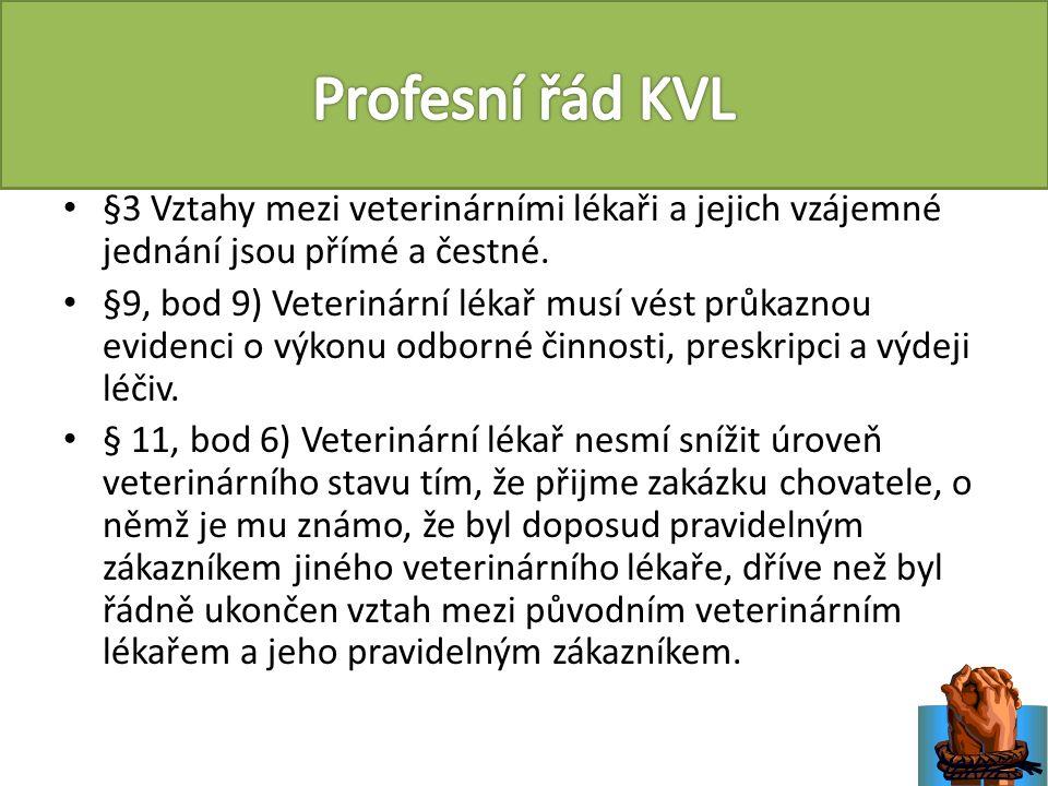 §3 Vztahy mezi veterinárními lékaři a jejich vzájemné jednání jsou přímé a čestné.