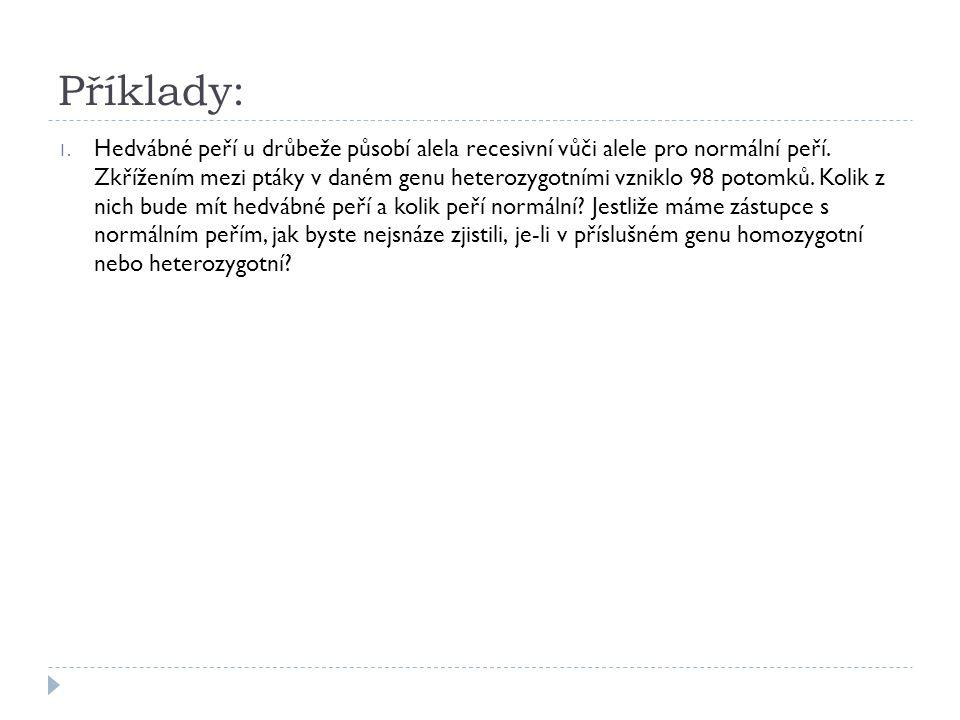 Příklady: 1.Hedvábné peří u drůbeže působí alela recesivní vůči alele pro normální peří.