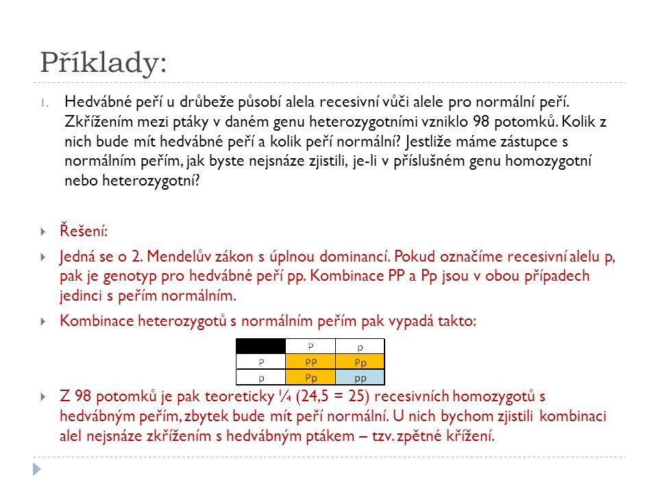Příklady: 1. Hedvábné peří u drůbeže působí alela recesivní vůči alele pro normální peří. Zkřížením mezi ptáky v daném genu heterozygotními vzniklo 98