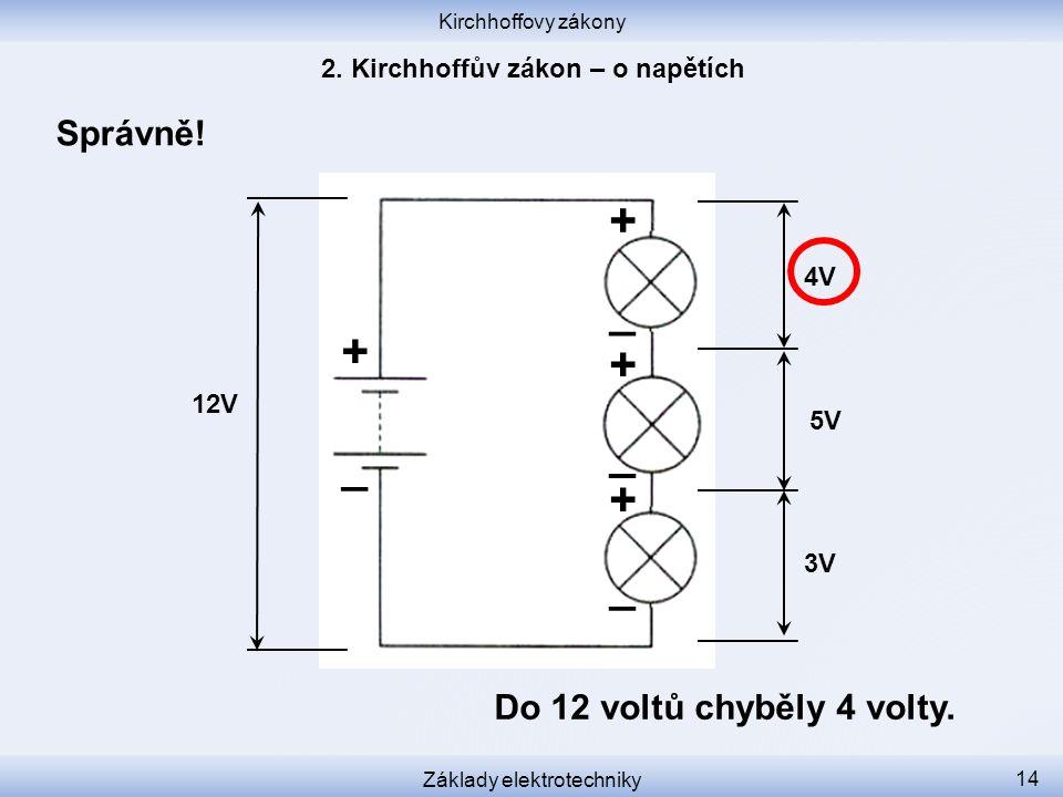 Kirchhoffovy zákony Základy elektrotechniky 14 Správně! 12V 3V 5V 4V + _ _ _ _ + + + Do 12 voltů chyběly 4 volty.