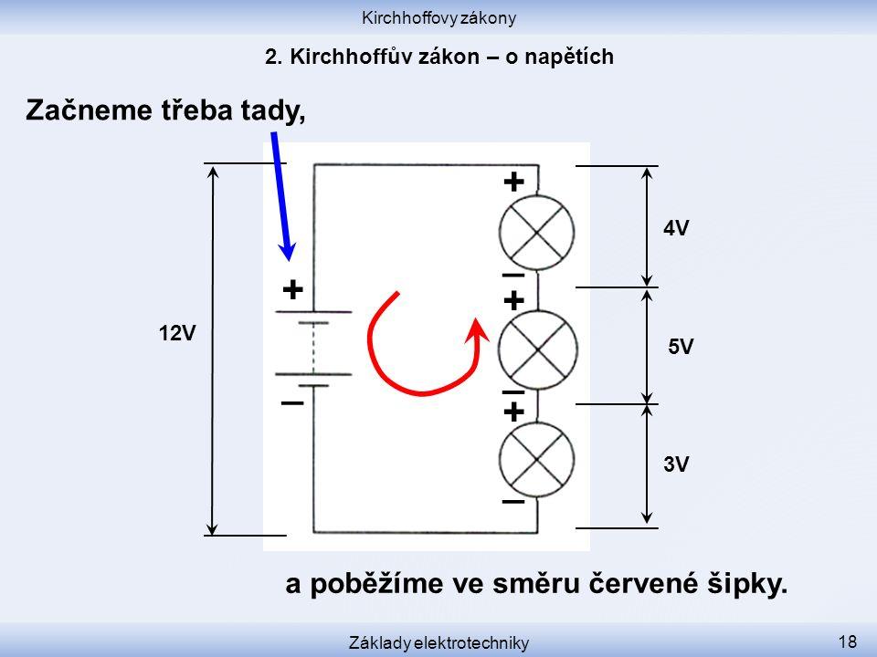 Kirchhoffovy zákony Základy elektrotechniky 18 Začneme třeba tady, 12V 3V 5V 4V + _ _ _ _ + + + a poběžíme ve směru červené šipky.