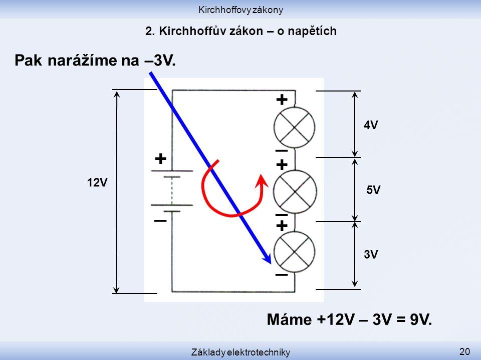 Kirchhoffovy zákony Základy elektrotechniky 20 Pak narážíme na –3V. 12V 3V 5V 4V + _ _ _ _ + + + Máme +12V – 3V = 9V.