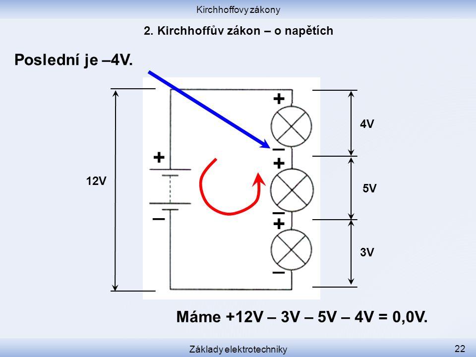 Kirchhoffovy zákony Základy elektrotechniky 22 Poslední je –4V. 12V 3V 5V 4V + _ _ _ _ + + + Máme +12V – 3V – 5V – 4V = 0,0V.
