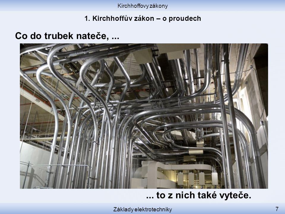 Kirchhoffovy zákony Základy elektrotechniky 7 Co do trubek nateče,...... to z nich také vyteče.