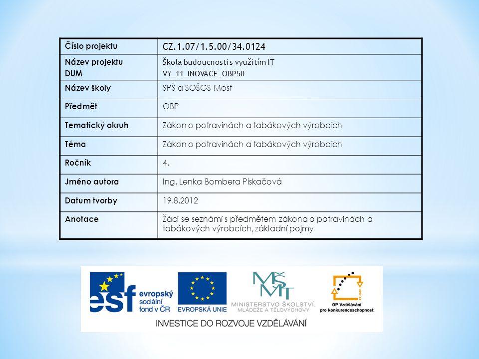 Číslo projektu CZ.1.07/1.5.00/34.0124 Název projektu DUM Škola budoucnosti s využitím IT VY_11_INOVACE_OBP50 Název školy SPŠ a SOŠGS Most Předmět OBP Tematický okruh Zákon o potravinách a tabákových výrobcích Téma Zákon o potravinách a tabákových výrobcích Ročník 4.