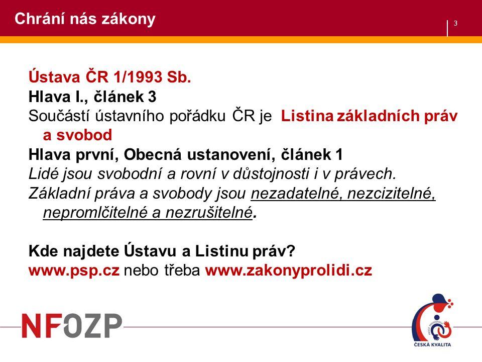 3 Chrání nás zákony Ústava ČR 1/1993 Sb.