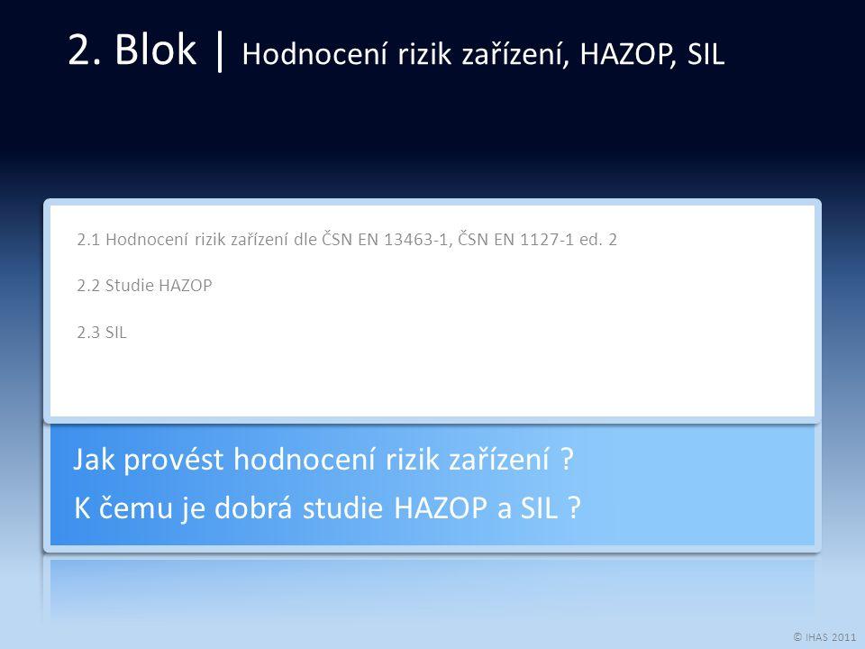 © IHAS 2011 2.1 Hodnocení rizik zařízení dle ČSN EN 13463-1, ČSN EN 1127-1 ed. 2 2.2 Studie HAZOP 2.3 SIL Jak provést hodnocení rizik zařízení ? K čem