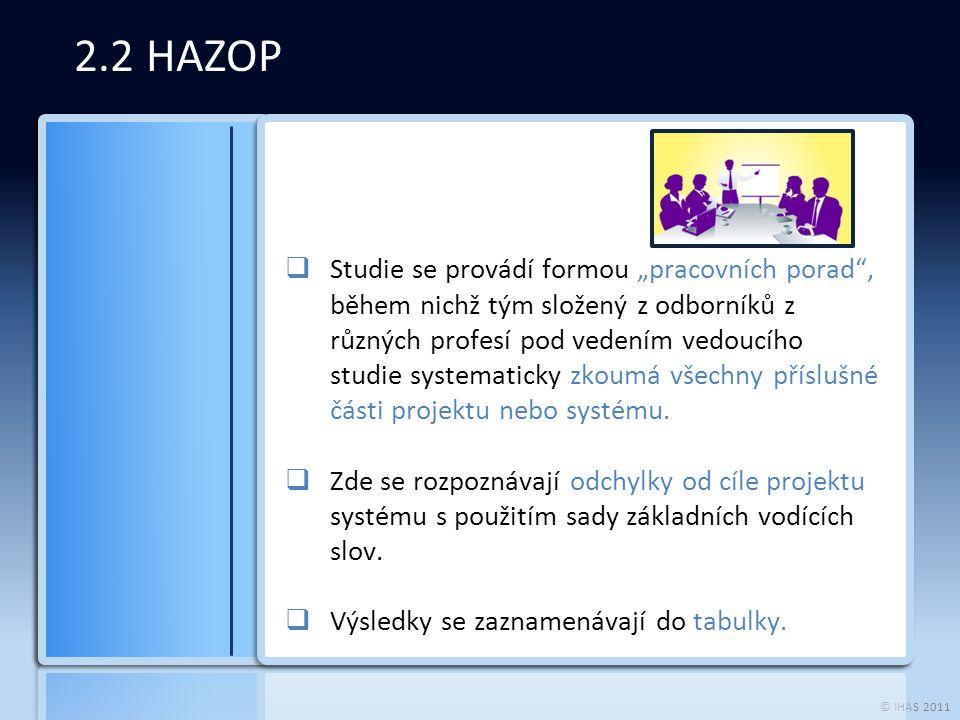 """© IHAS 2011 2.2 HAZOP  Studie se provádí formou """"pracovních porad , během nichž tým složený z odborníků z různých profesí pod vedením vedoucího studie systematicky zkoumá všechny příslušné části projektu nebo systému."""