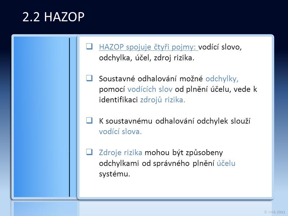 © IHAS 2011 2.2 HAZOP  HAZOP spojuje čtyři pojmy: vodící slovo, odchylka, účel, zdroj rizika.  Soustavné odhalování možné odchylky, pomocí vodících
