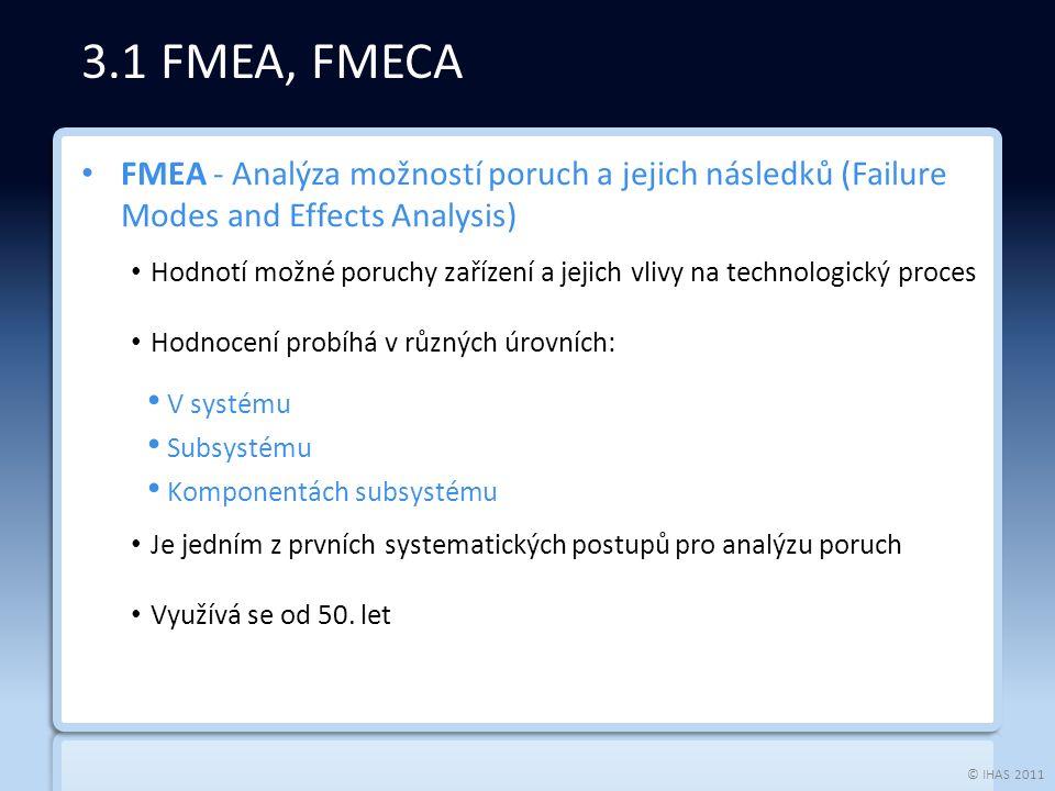 © IHAS 2011 FMEA - Analýza možností poruch a jejich následků (Failure Modes and Effects Analysis) Hodnotí možné poruchy zařízení a jejich vlivy na technologický proces Hodnocení probíhá v různých úrovních: V systému Subsystému Komponentách subsystému Je jedním z prvních systematických postupů pro analýzu poruch Využívá se od 50.