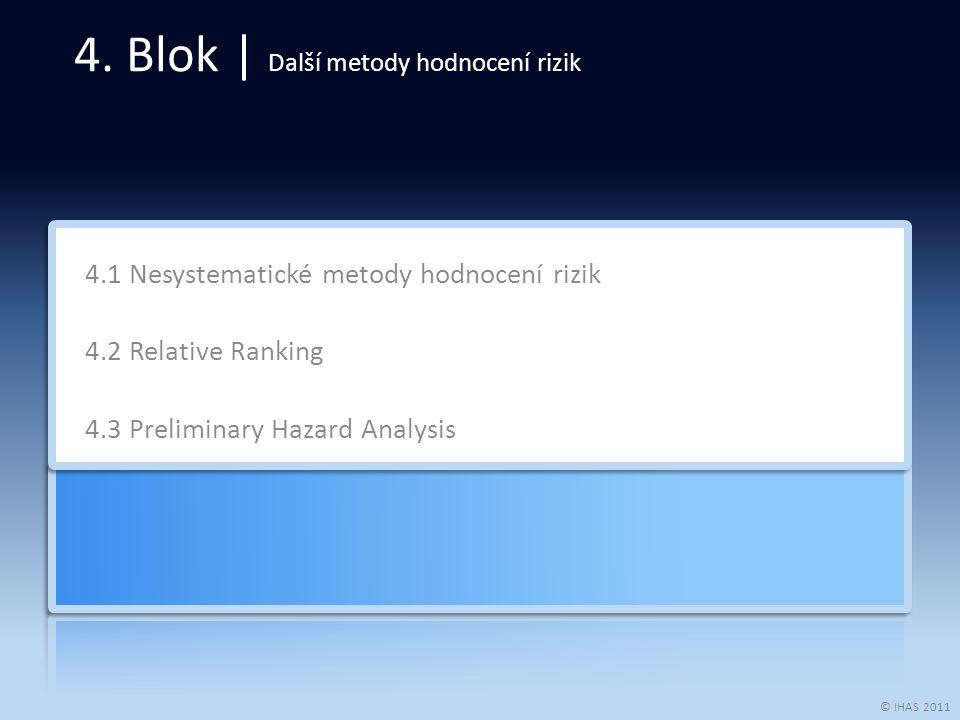 © IHAS 2011 4.1 Nesystematické metody hodnocení rizik 4.2 Relative Ranking 4.3 Preliminary Hazard Analysis 4. Blok | Další metody hodnocení rizik