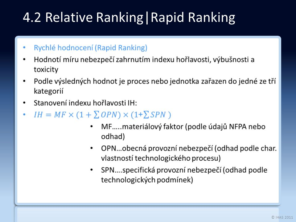 © IHAS 2011 4.2 Relative Ranking|Rapid Ranking