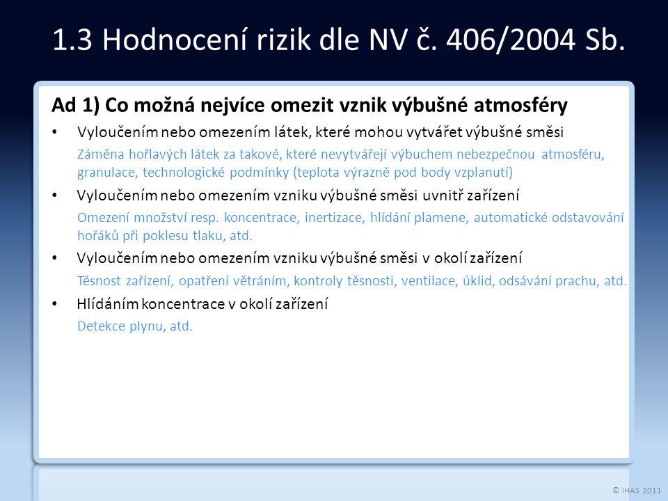 © IHAS 2011 Ad 1) Co možná nejvíce omezit vznik výbušné atmosféry Vyloučením nebo omezením látek, které mohou vytvářet výbušné směsi Záměna hořlavých