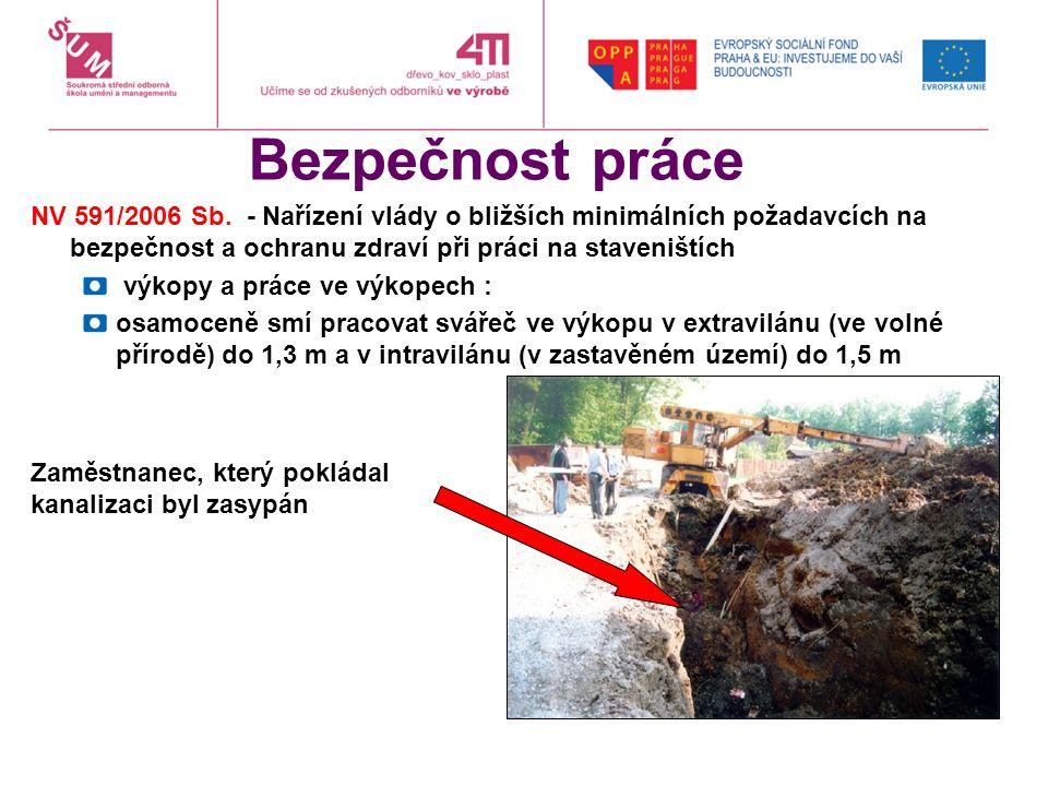Bezpečnost práce NV 591/2006 Sb. - Nařízení vlády o bližších minimálních požadavcích na bezpečnost a ochranu zdraví při práci na staveništích výkopy a