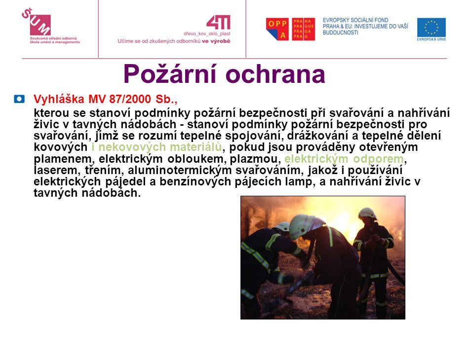 Požární ochrana Vyhláška MV 87/2000 Sb., kterou se stanoví podmínky požární bezpečnosti při svařování a nahřívání živic v tavných nádobách - stanoví p