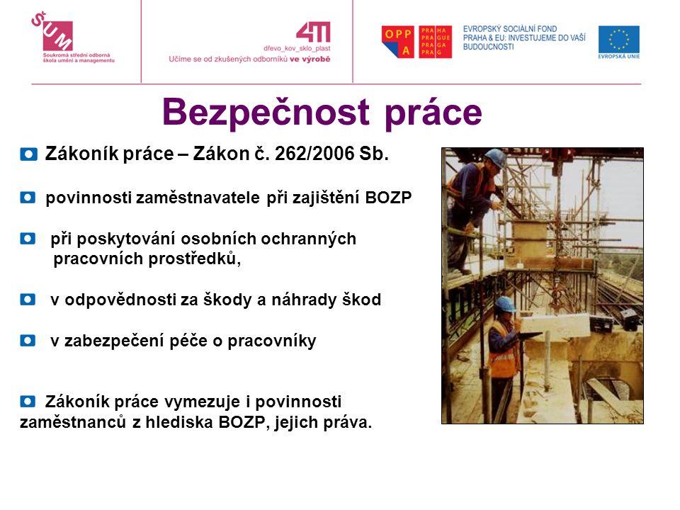 Bezpečnost práce Zákoník práce – Zákon č. 262/2006 Sb. povinnosti zaměstnavatele při zajištění BOZP při poskytování osobních ochranných pracovních pro
