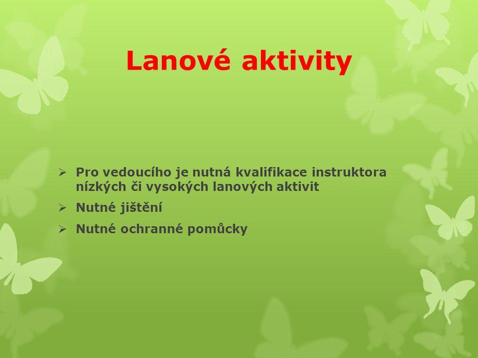 Lanové aktivity  Pro vedoucího je nutná kvalifikace instruktora nízkých či vysokých lanových aktivit  Nutné jištění  Nutné ochranné pomůcky
