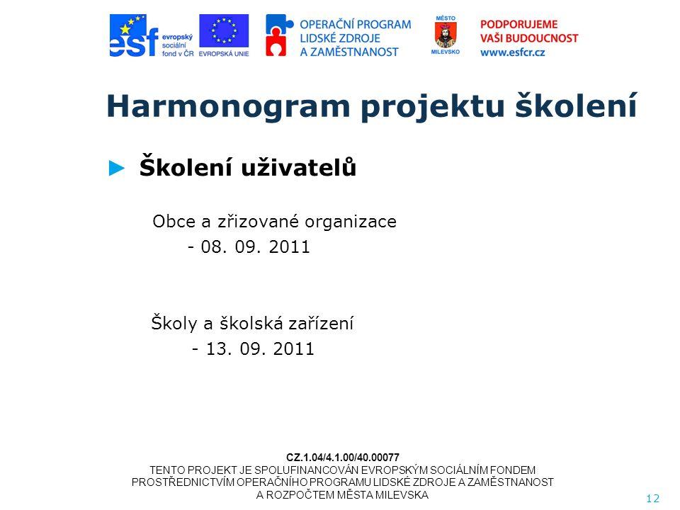 Harmonogram projektu školení ► Školení uživatelů Obce a zřizované organizace - 08.