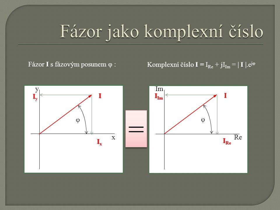 Im Re y x I Fázor I s fázovým posunem φ :I φ IyIyIyIy IxIxIxIx I = I Komplexní číslo I = I Re + jI Im = | I |.e jφI φ I Im I Re = =